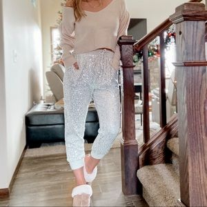 High waisted sequin joggers